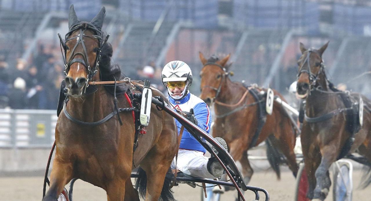 Erica med Kaj Widell i sulkyn vid en tidigare seger. Foto Micke Gustafsson/ALN
