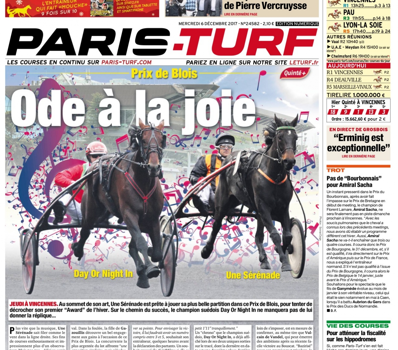 Johan Untersteiners Day or Night In gör sin fjärde start på Vincennes under detta vintermeeting. Hästen pryder omslaget av den franska facktidningen ihop med Une Serenade, den enda häst som tidningen tippar före Day Or Night In. Foto: Paris-Turf