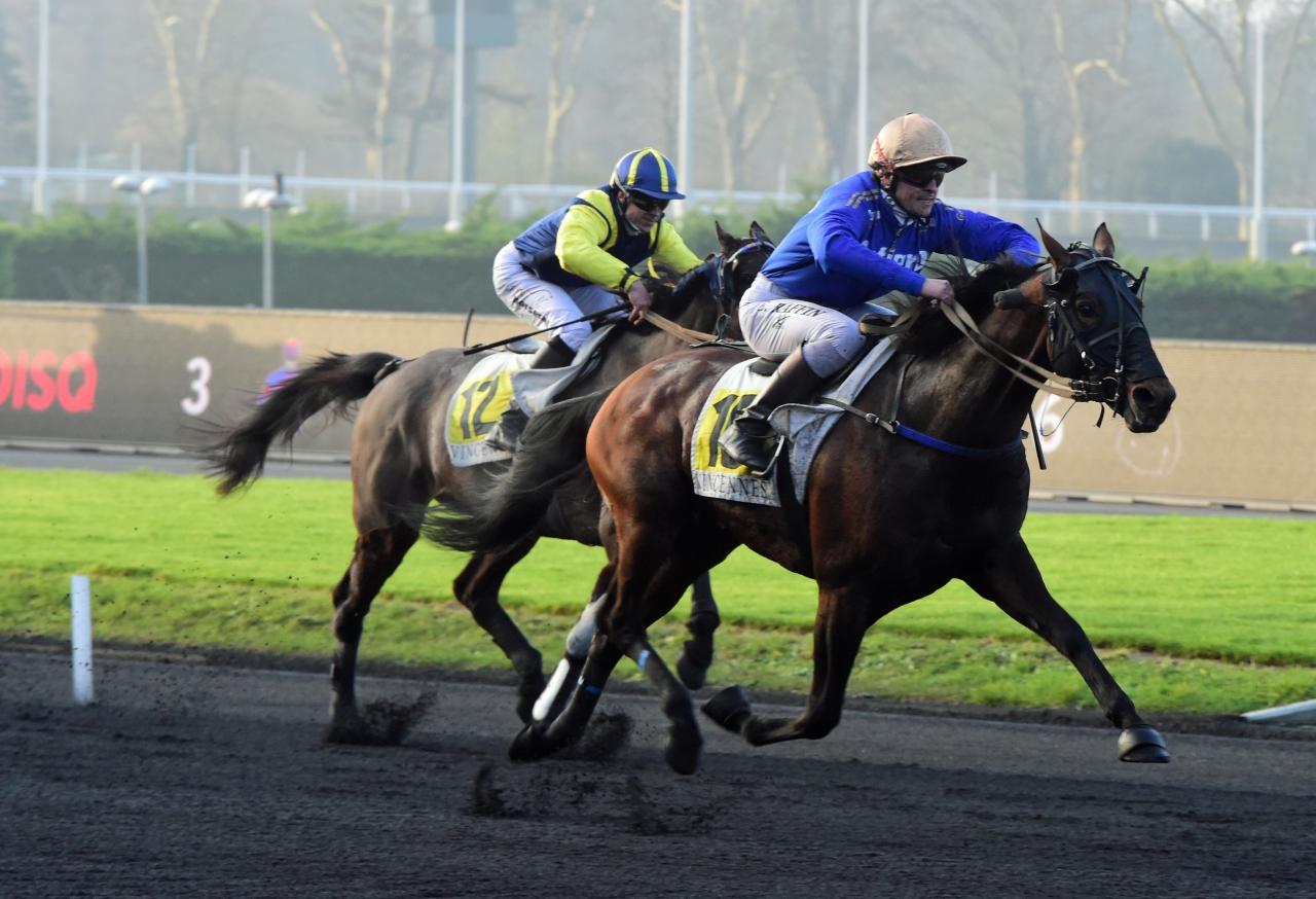 Reckless vid segern under sadel på Vincennes. Foto: Gerard Forni.