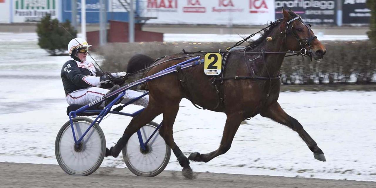 Sven-Erik Landin tog över som landets äldste vinnare när han satte dit Sigill Carjan i Gävle. Foto: Christer Norin/ALN