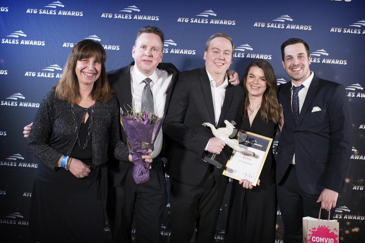 VinnaTillsammans-gänget som tog de tyngsta priserna på ATG Sales Award. Foto Jonas Borg