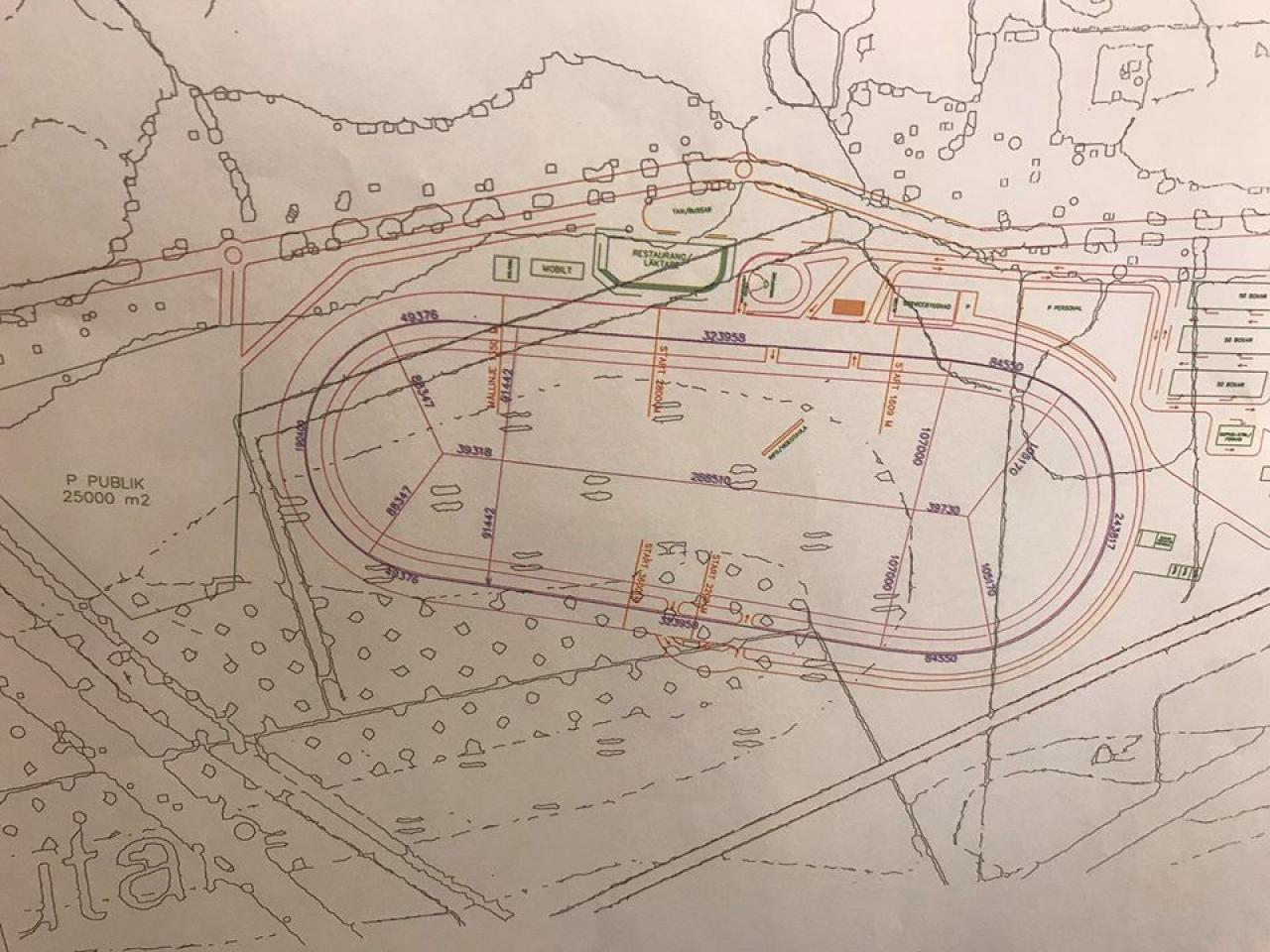 En idéskiss om hur Örebrotravets nya bana i Kvinnersta skulle kunna se ut.