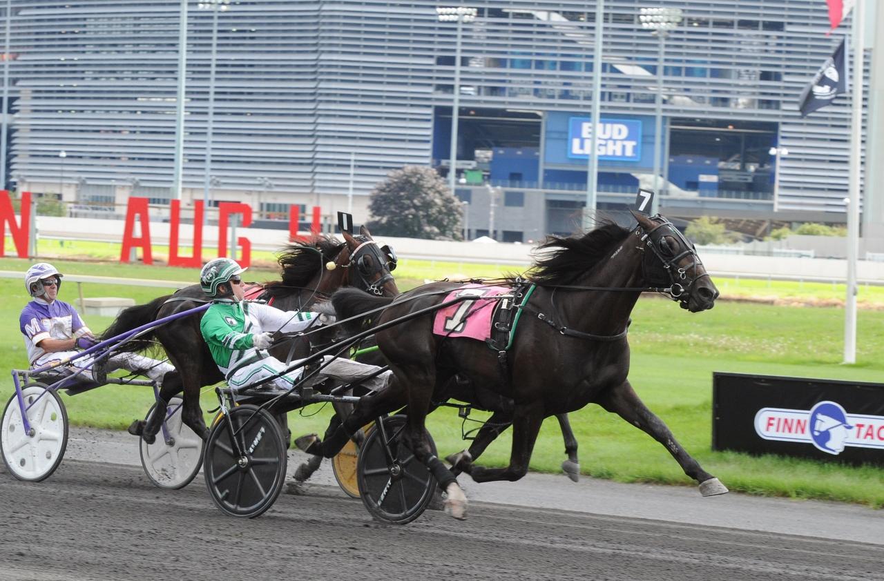 Jimmy Takter och Tactical Landing vinner det ena försöket i Hambletonian Stakes. Foto: Adam Ström/stalltz.se