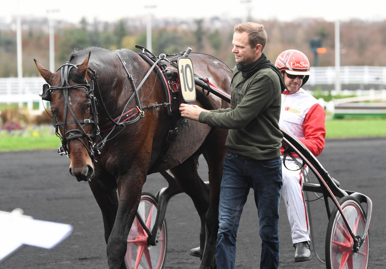 Johan Untersteiner slutade tvåa med Day Or Night In på Vincennes. Foto: Gerard Forni