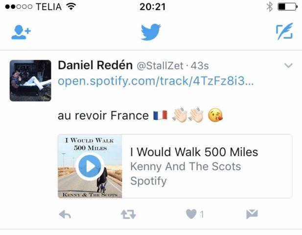 Daniel Redéns uppdatering på Twitter antyder kanske en långpromenad..?
