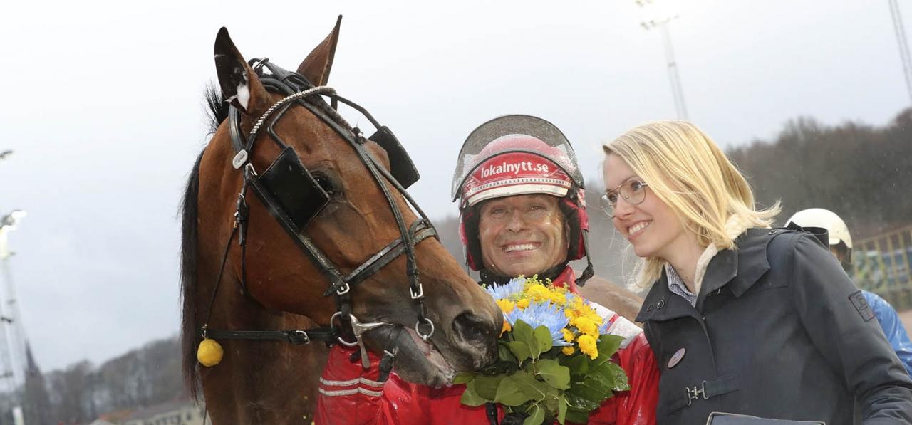 Peter Untersteiner är 2018 champion på Åby, Jägersro och hemmabanan Halmstad. Foto. Mia Törnberg/Sulkysport