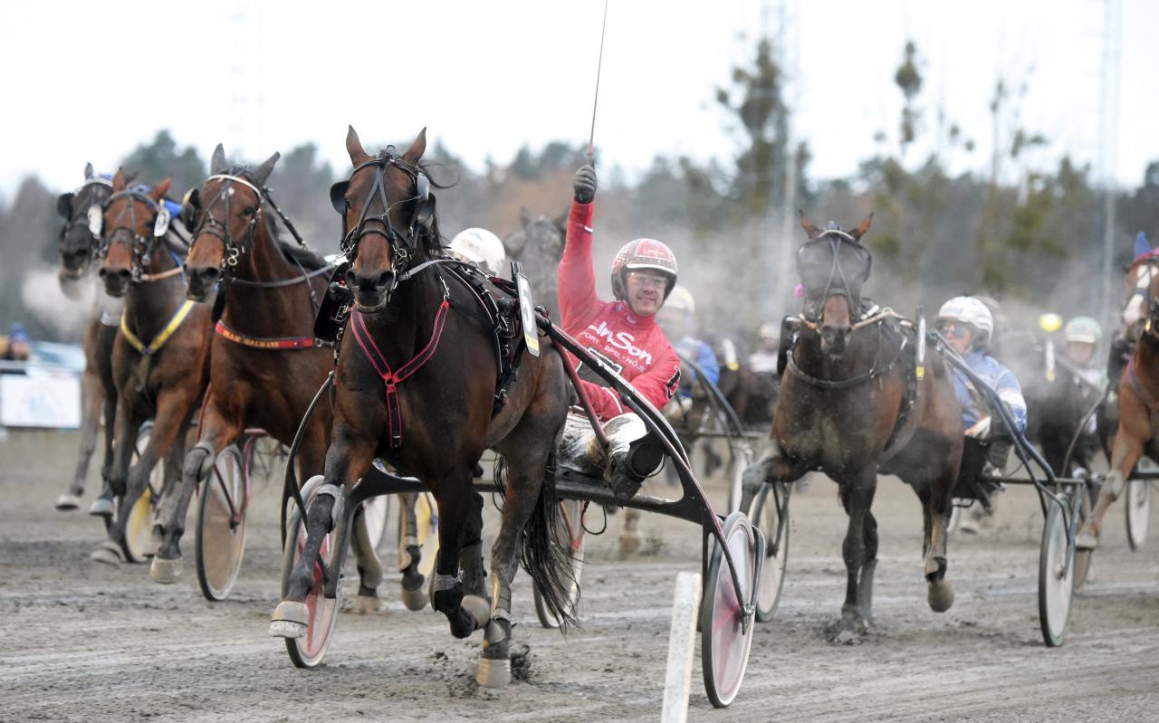 Unrestricted vid segern i Breeders Crown som fyraåring med sin tränare Johan Untersteiner i sulkyn. Foto Martin Langels/ALN
