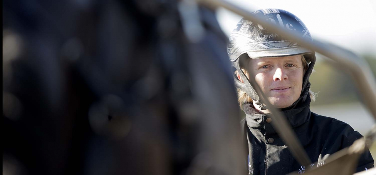 Mattias Djuse startar tre hästar i Zoogins lopp på Solvalla. Foto Mia Törnberg/Sulkysport