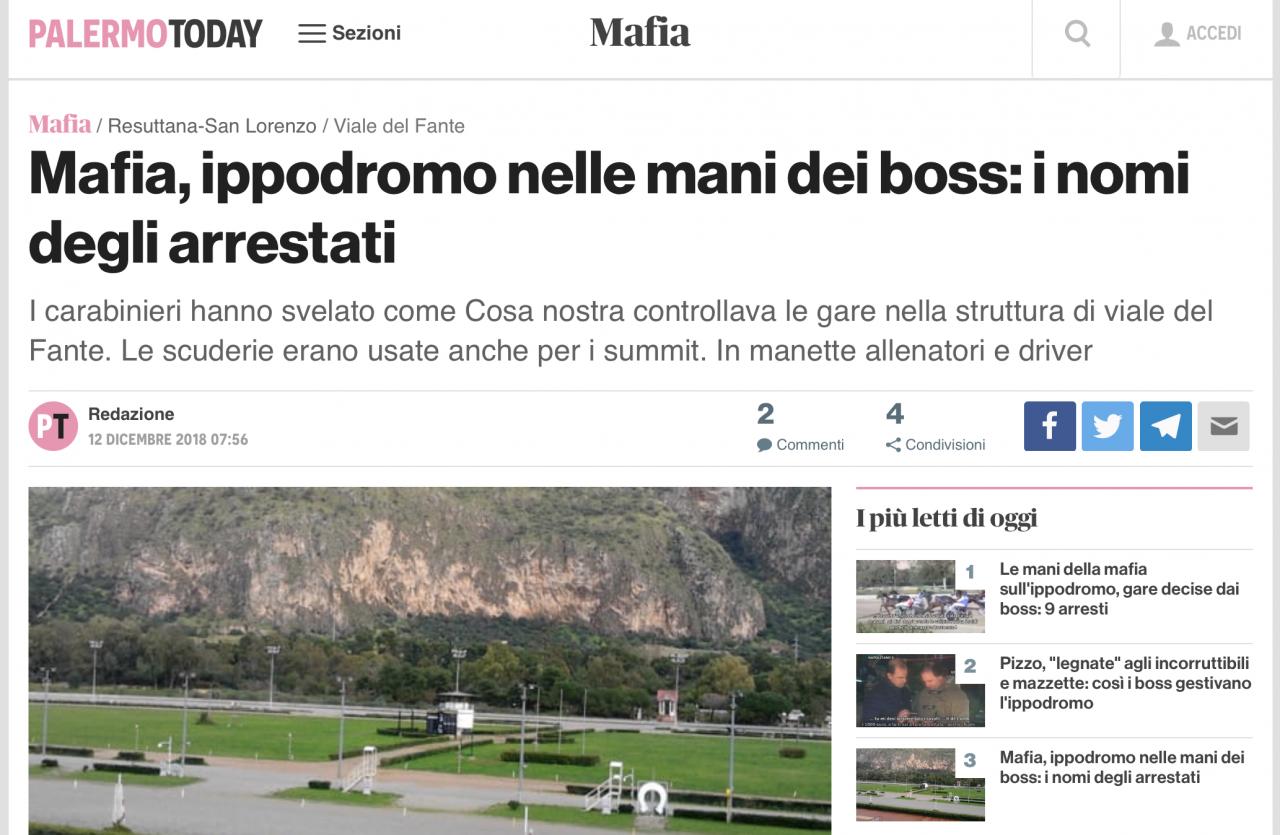 Palermo Today är ett av flera sicilianska medier som uppmärksammat att nio personer arresterats misstänkta för att ha riggat lopp på La Favorita-banan i Palermo.