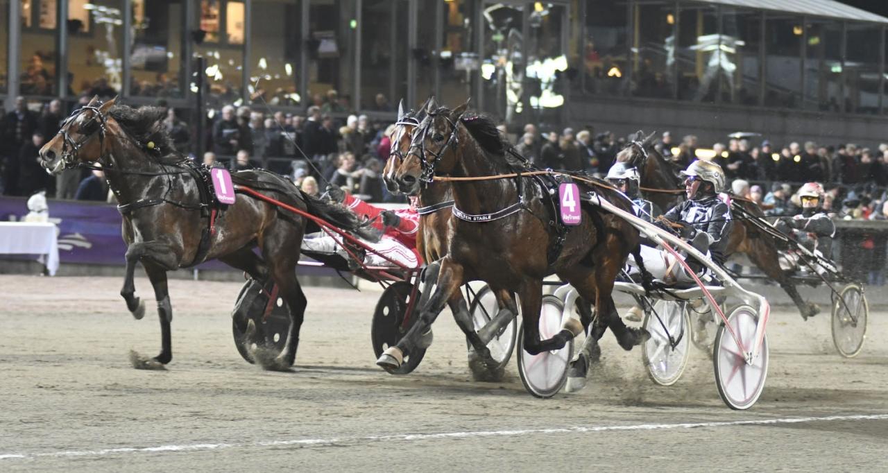 Velten Versailles och Rick Ebbinge från segern på Åby den 15 december i fjol. På söndag är den obesegrade hästen tillbaka på tävlingsbanan då han dyker upp i ett klass II-försök i Kalmar. Foto Sidmakarn