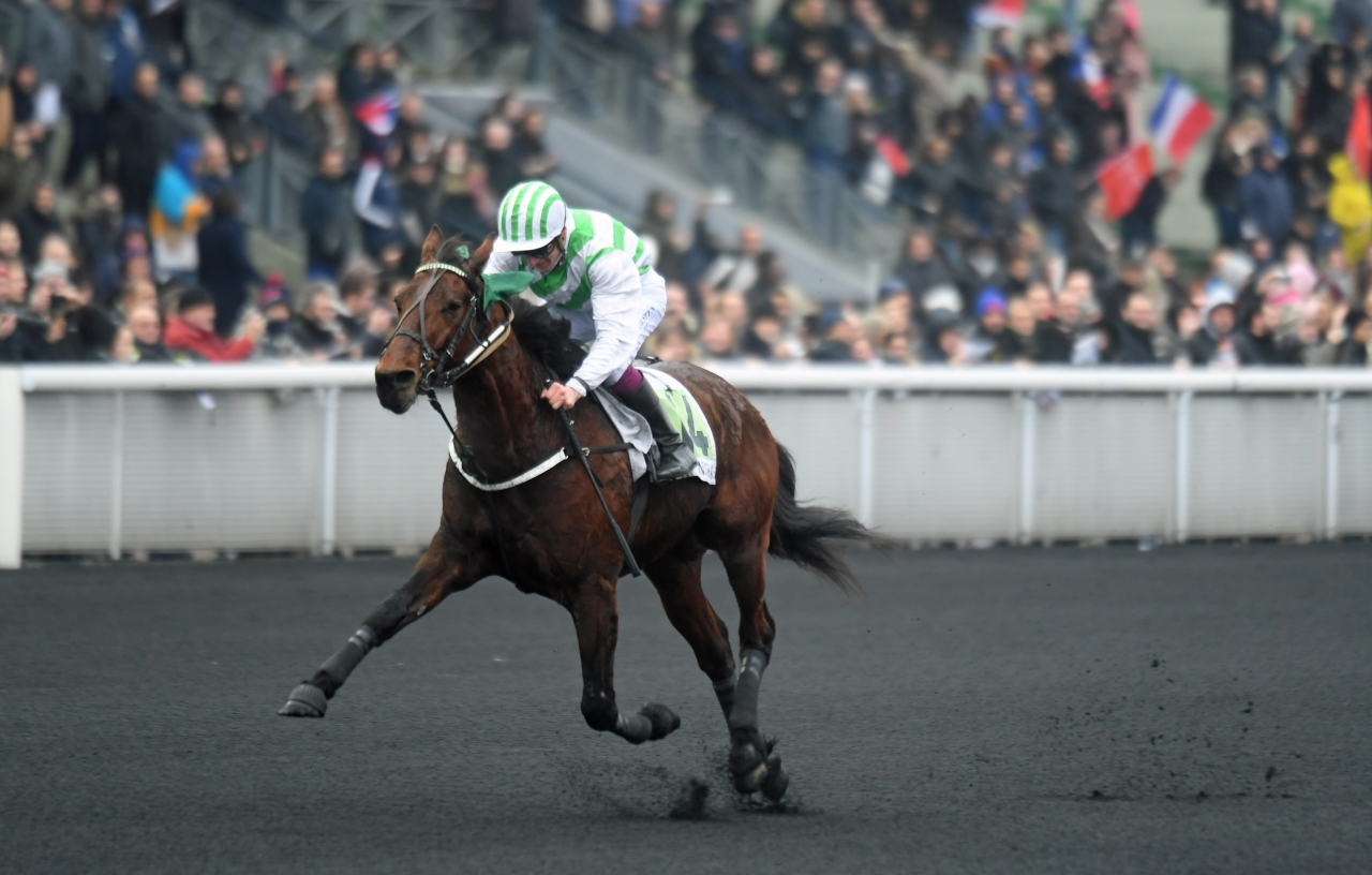 Nytt löpningsrekord krävdes för att Bilibili och Alexandre Abrivard skulle ta hem Prix de Cornulier. Foto: Gerard Forni