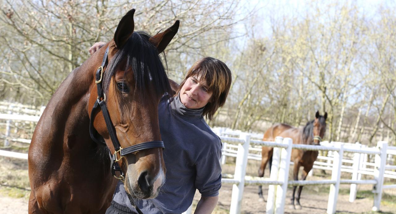 Darling Mearas och sin tidigare skötare Anne-Sofie Johansson. Foto Mia Törnberg/Sulkysport