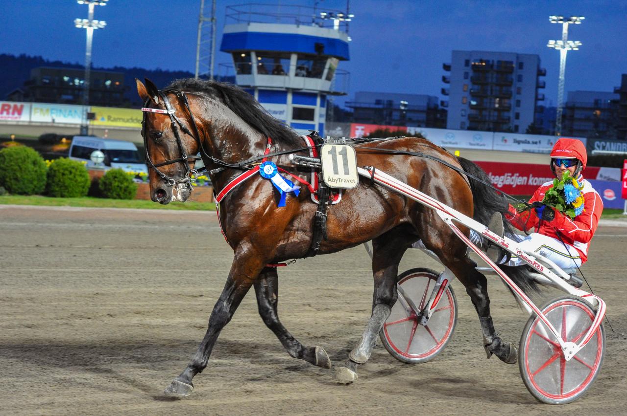 Campo Bahia var snabbast av samtliga försöksvinnare till pokalloppen. Conrad Lugauers häst vann på 1.12,1a/2.140 meter. Foto: Simon Hagen