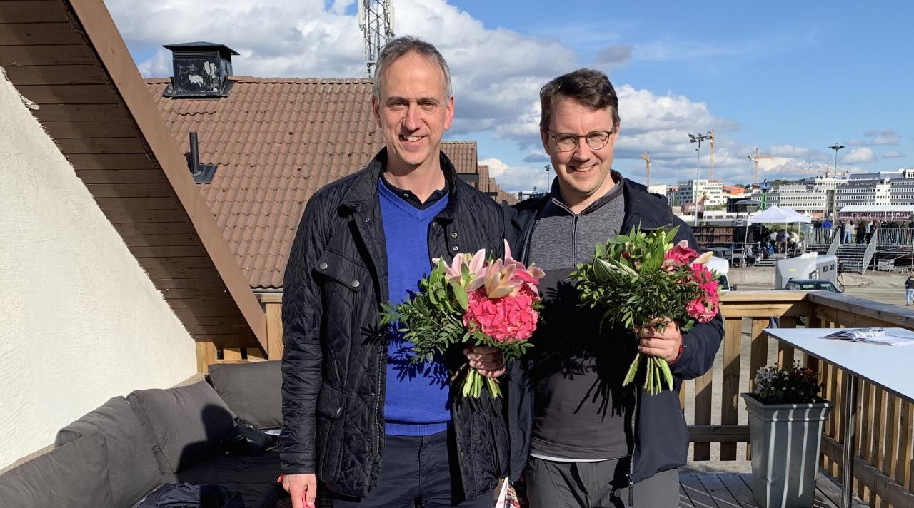 Mikael Blomgren och Kristoffer Persson är två tredjedelar av Stall Nyx som hade en stor dag på Solvalla med två vinnande uppfödningar. Foto Cecilia Kristoffersson