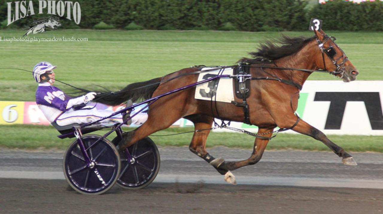 David Miller och Starita vann försök i New Jersey Sire Stakes och Miller satt även bakom Evident Beauty och Reign of Honor. Foto: Lisa Photo