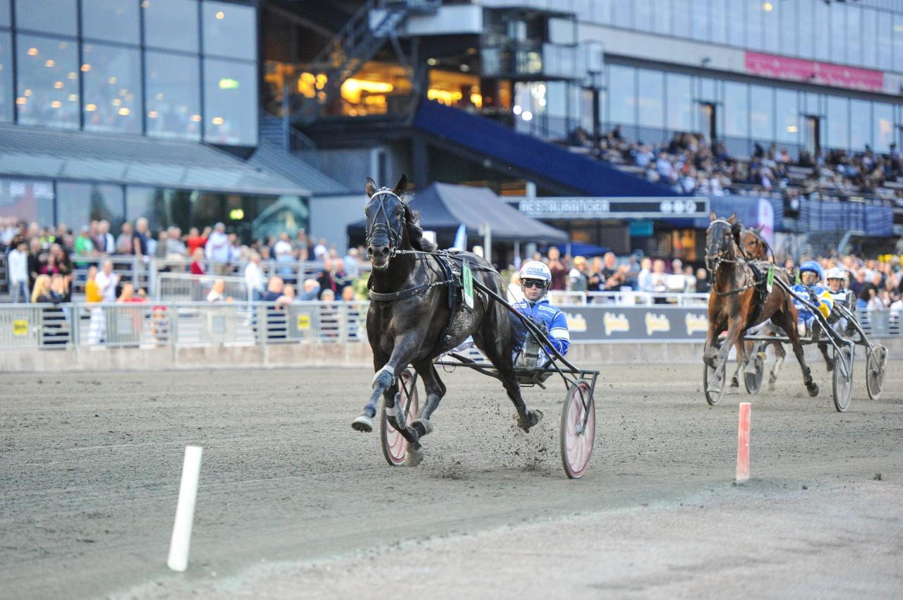 Attraversiamo imponerade när han vann det nya loppet Prix Readly Express på svenska rekordet 1.10,5a/2.140. Foto: Simon Hagen/Sulkysport