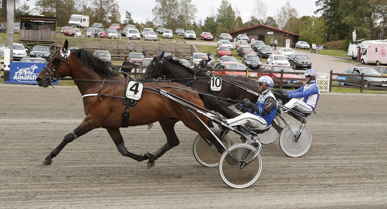 Leo Leo och Carl Johan Jepson vid seger i Åmål förra sommaren. Ikväll är ekipaget tillbaka på dalslandsbanan. Foto Lennart Kihlman/ALN