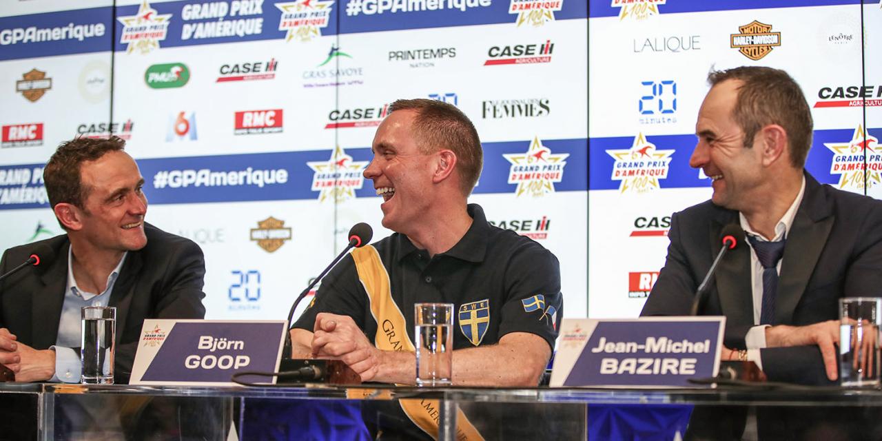 Glada miner under presskonferensen efter Prix d'Amérique med Franck Ouvrie, Björn Goop och Jean Michel Bazire. Foto Mia Törnberg/Sulkysport