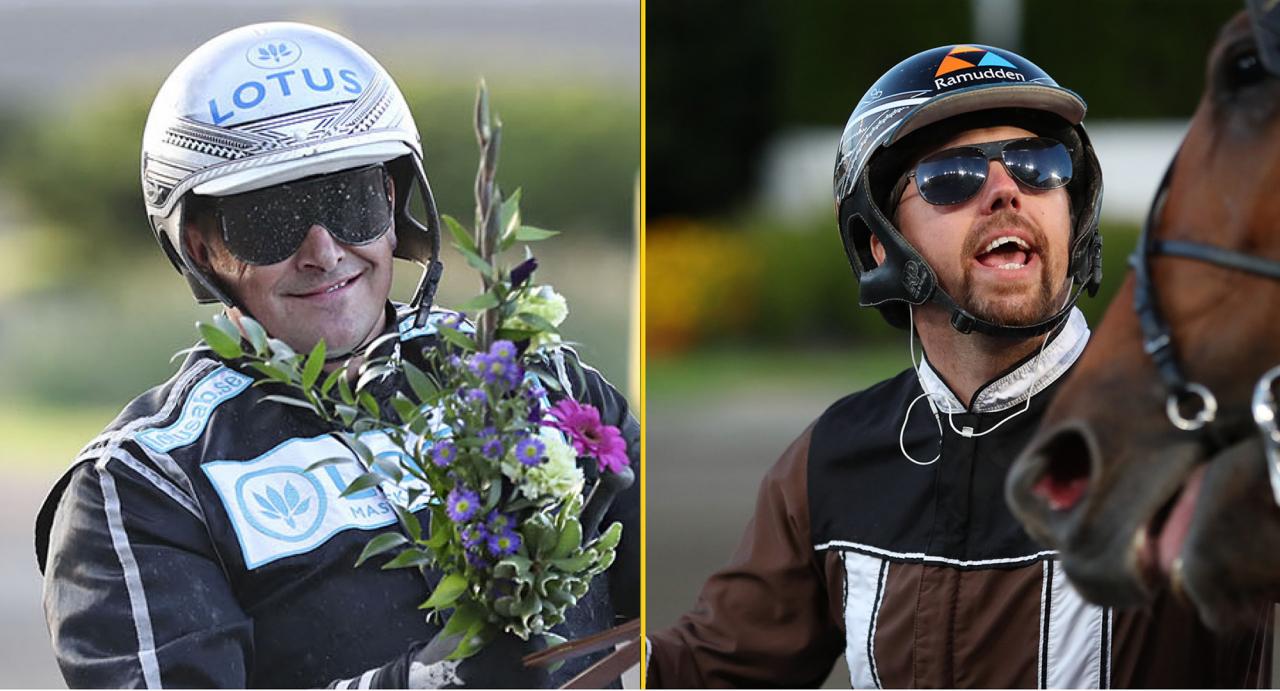 Derbykvalkungarna Robert Bergh och Daniel Redén. Foto Jeannie Karlsson & Mathias Hedlund/Sulkysport